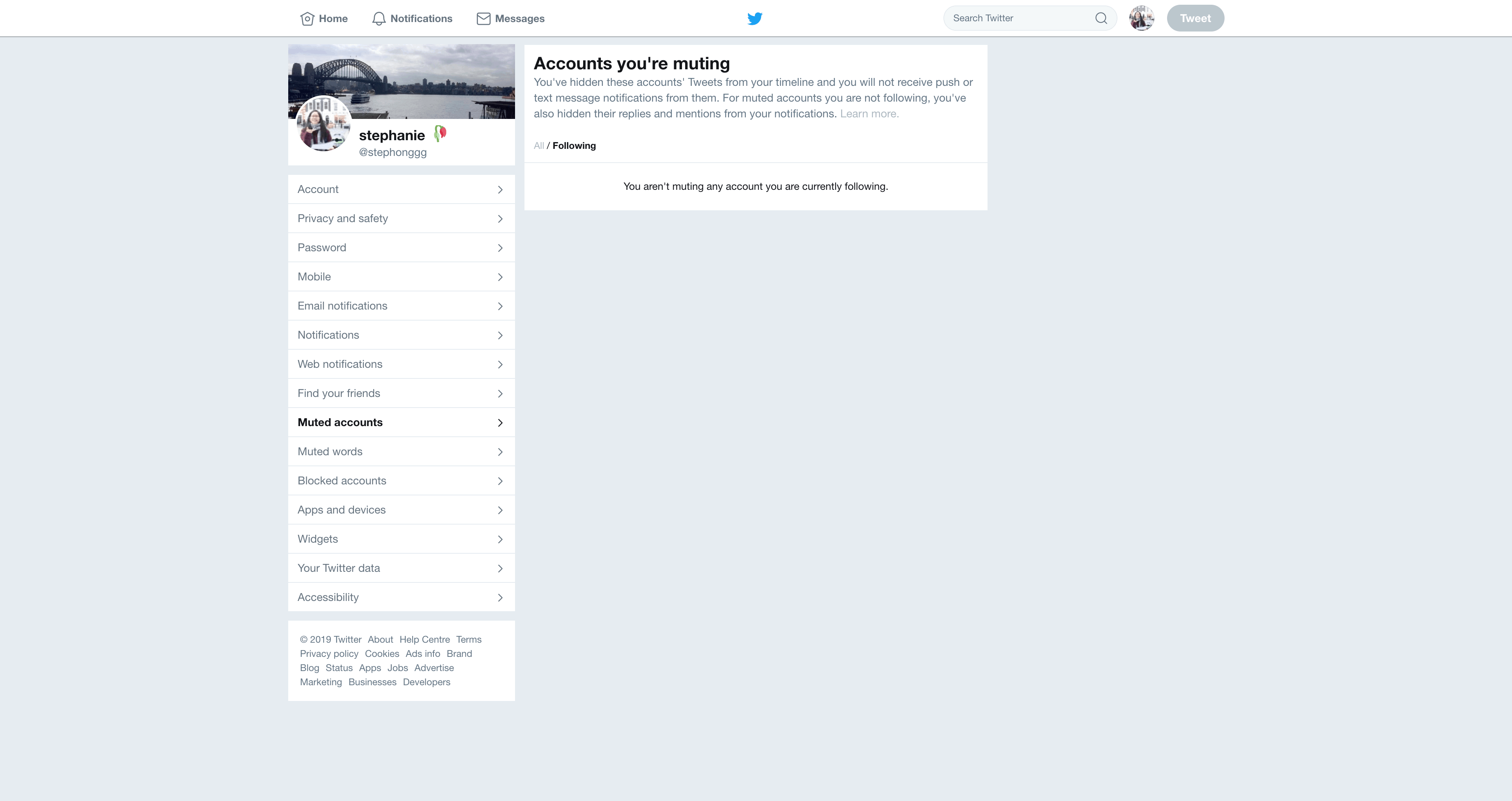 Muted Account Settings by Twitter from UIGarage