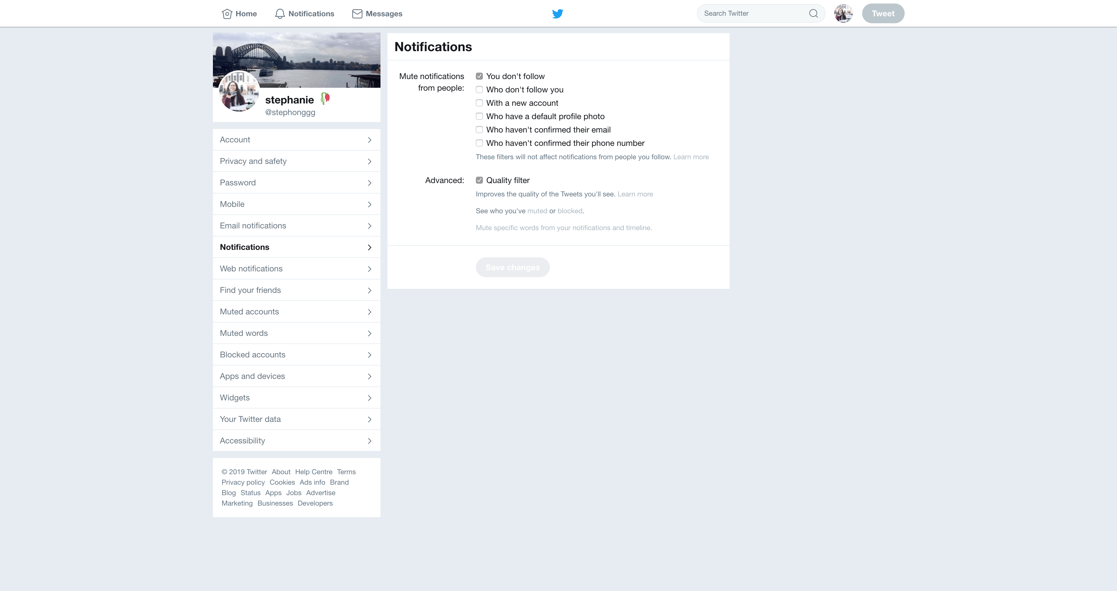 Notifications Settings by Twitter