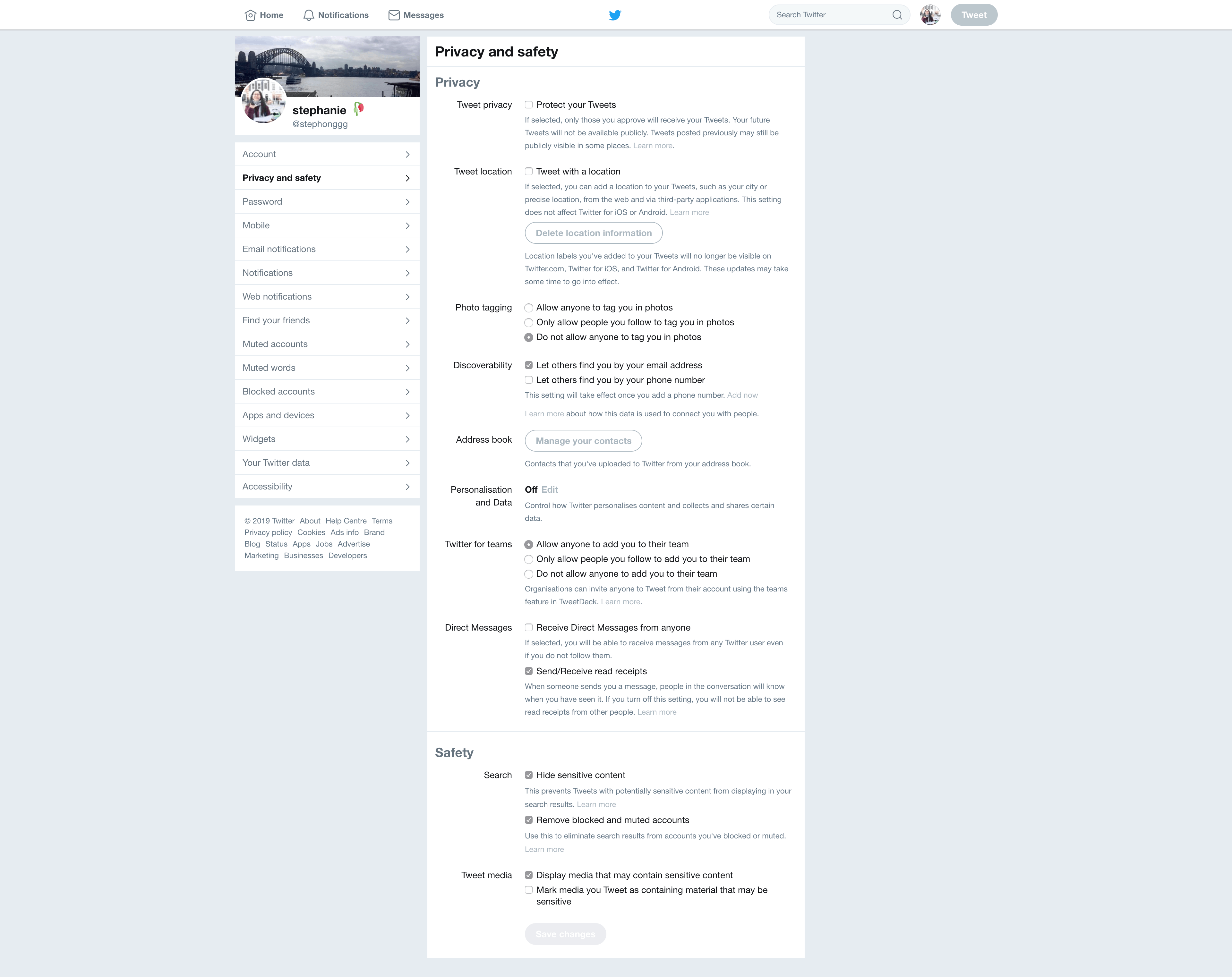 Privacy and Safety Settings by Twitter