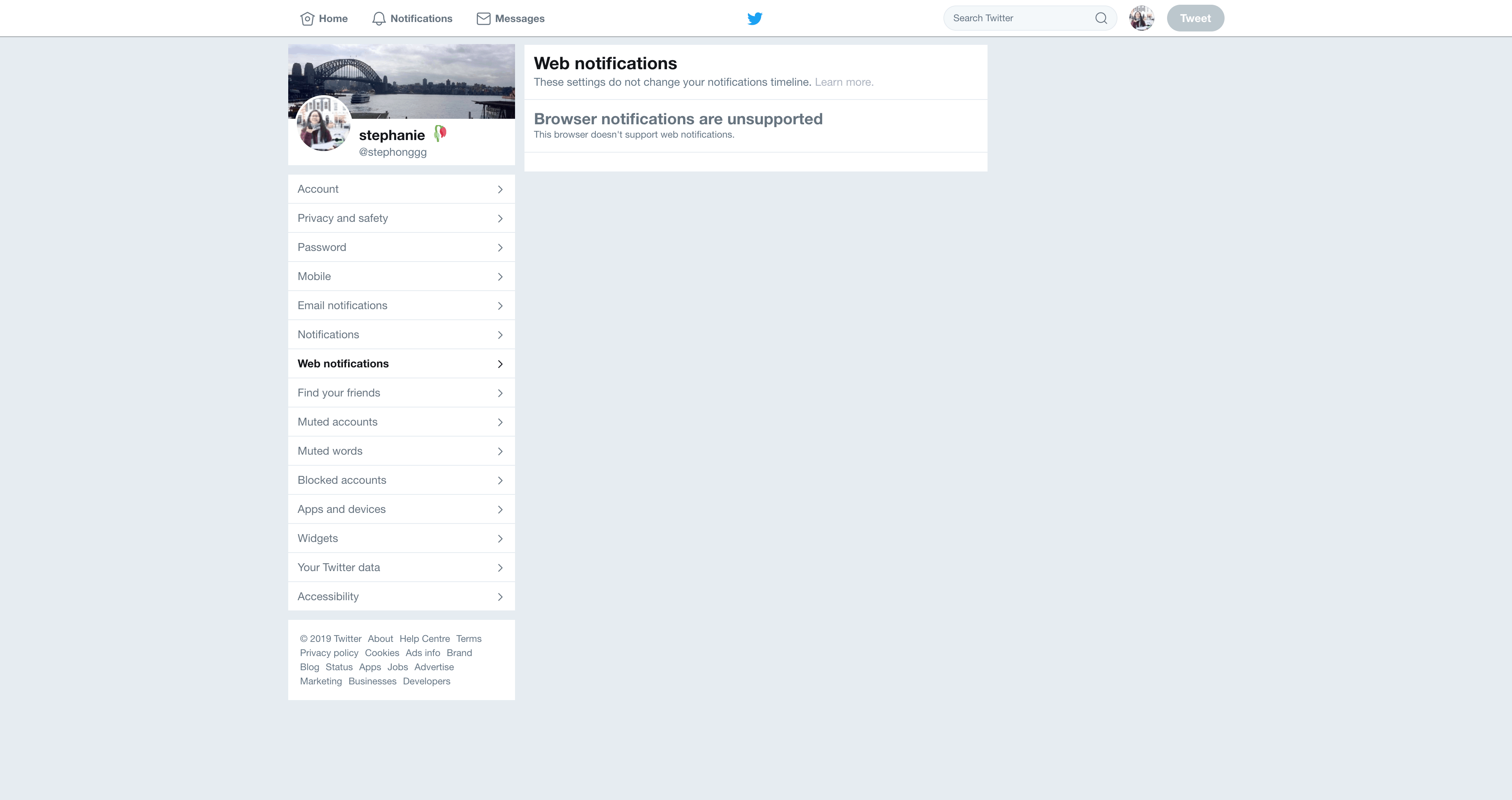 Web Notifications Settings by Twitter