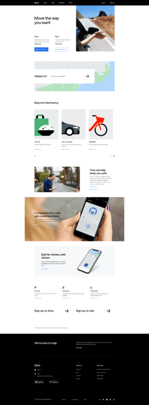 Home Page by Uber from UIGarage