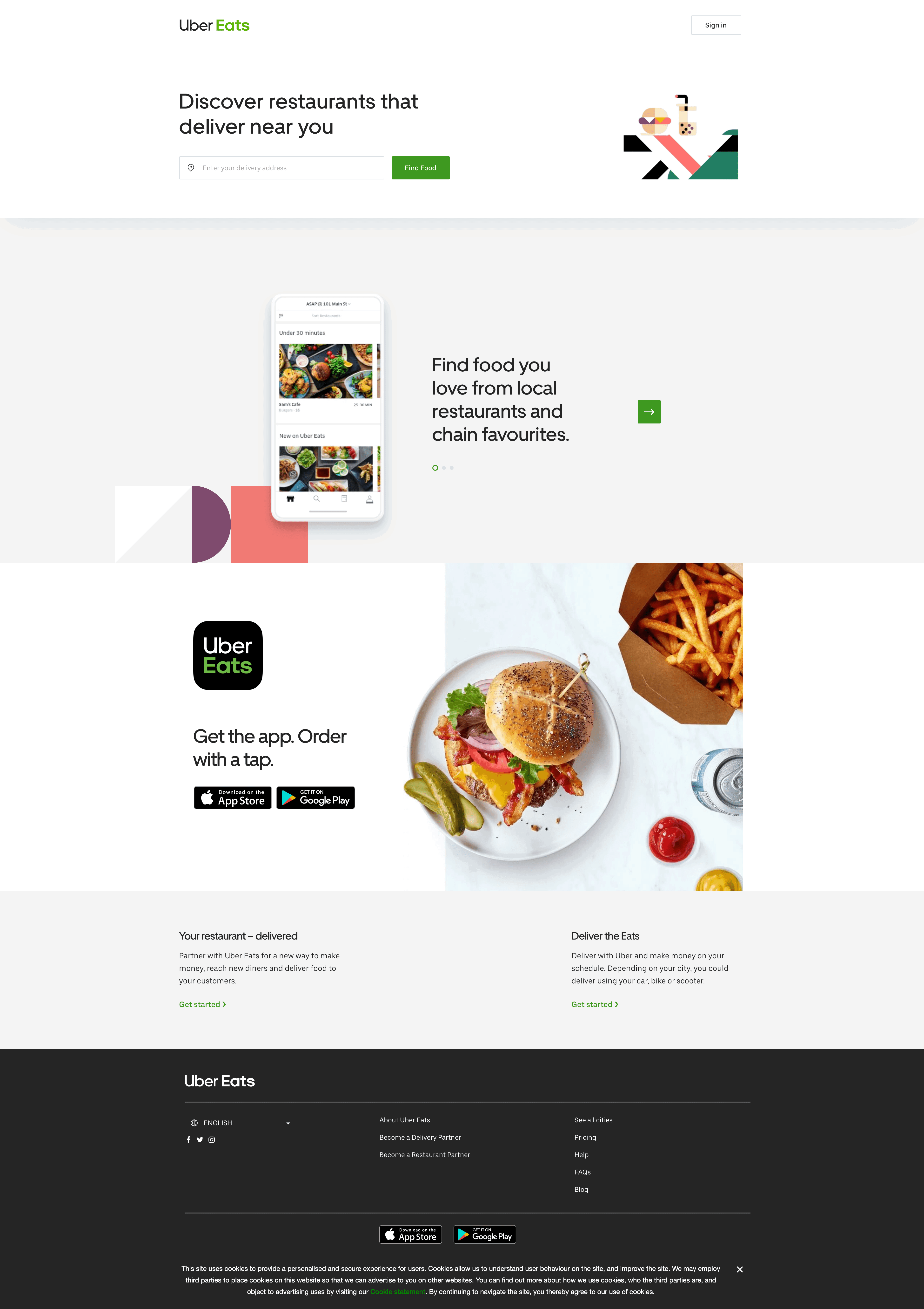 Home Page by Uber Eats