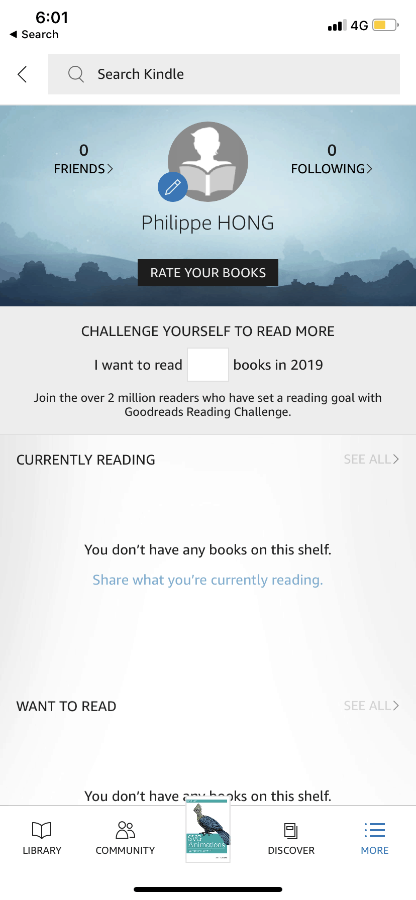 Profile on iOS by Kindle
