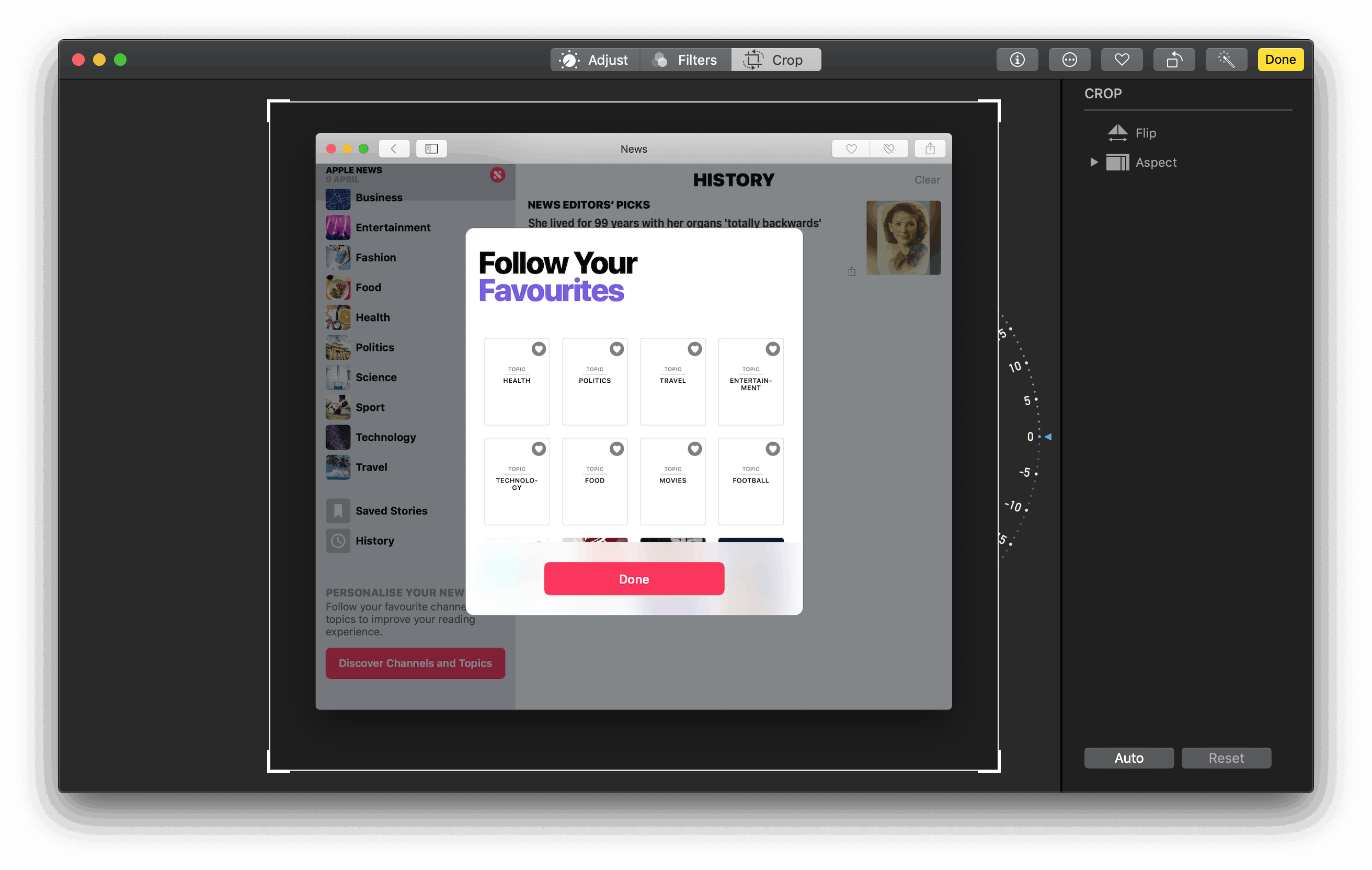 Resizing tool by Photos on Mac