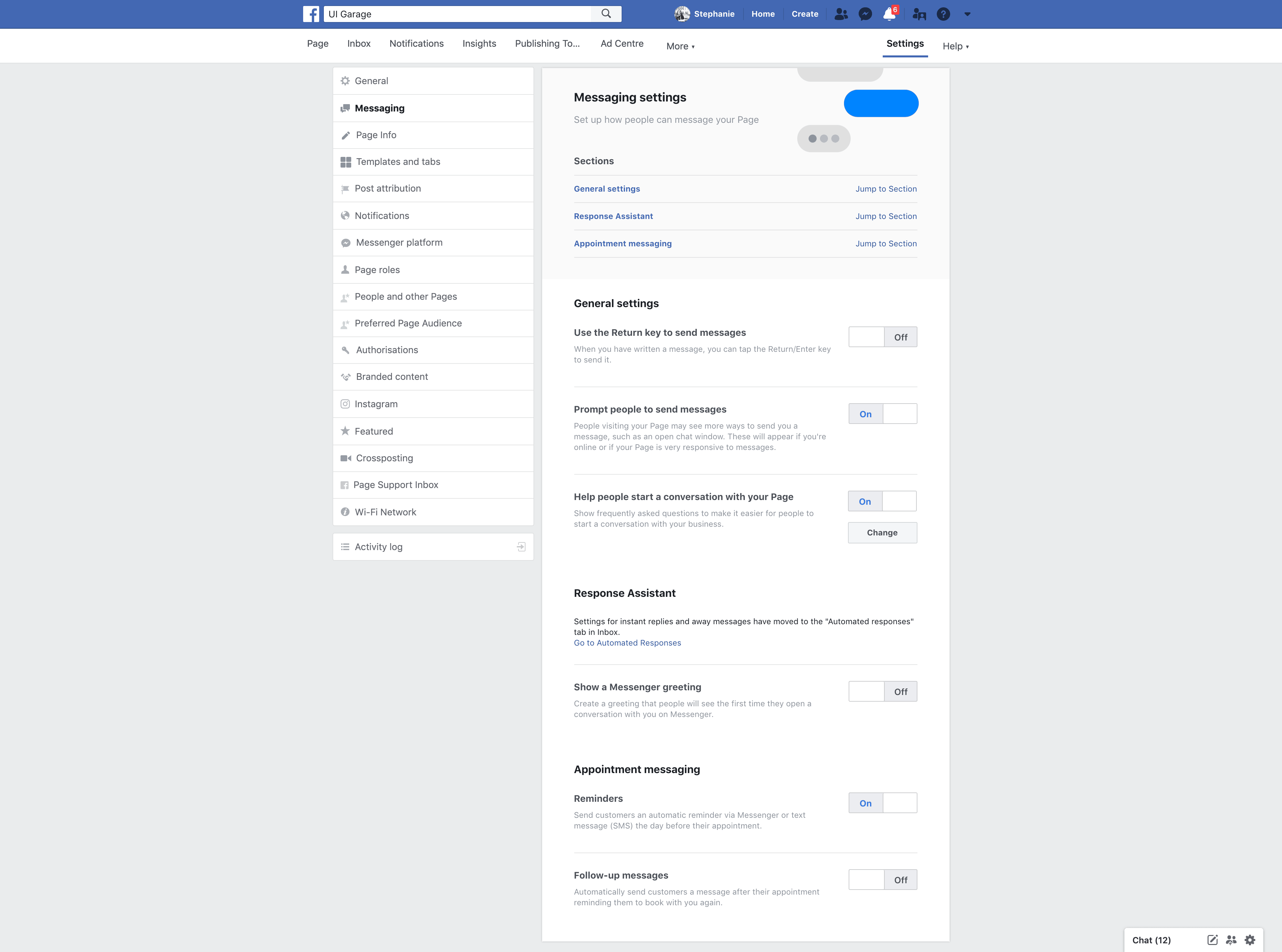 Page's Messaging Settings by Facebook from UIGarage