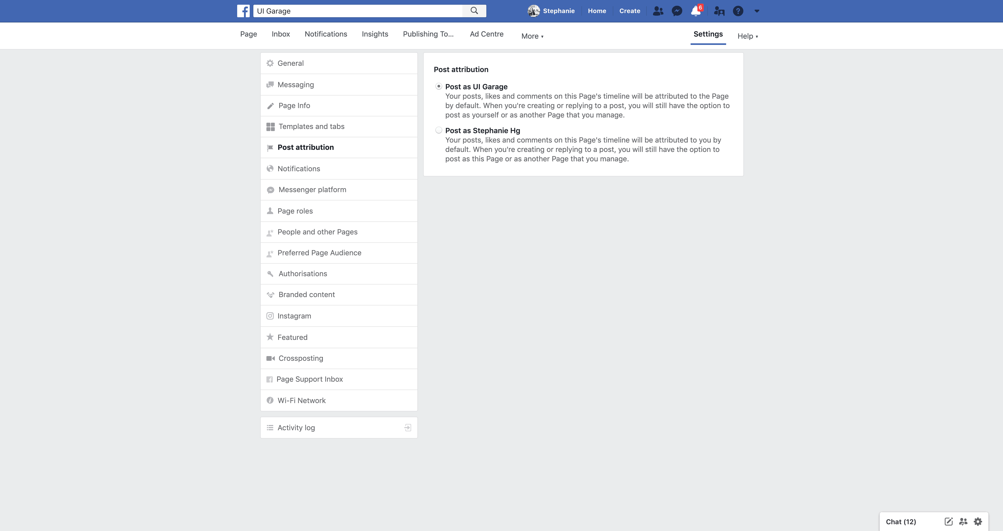 Page's Post Attribution Settings by Facebook from UIGarage