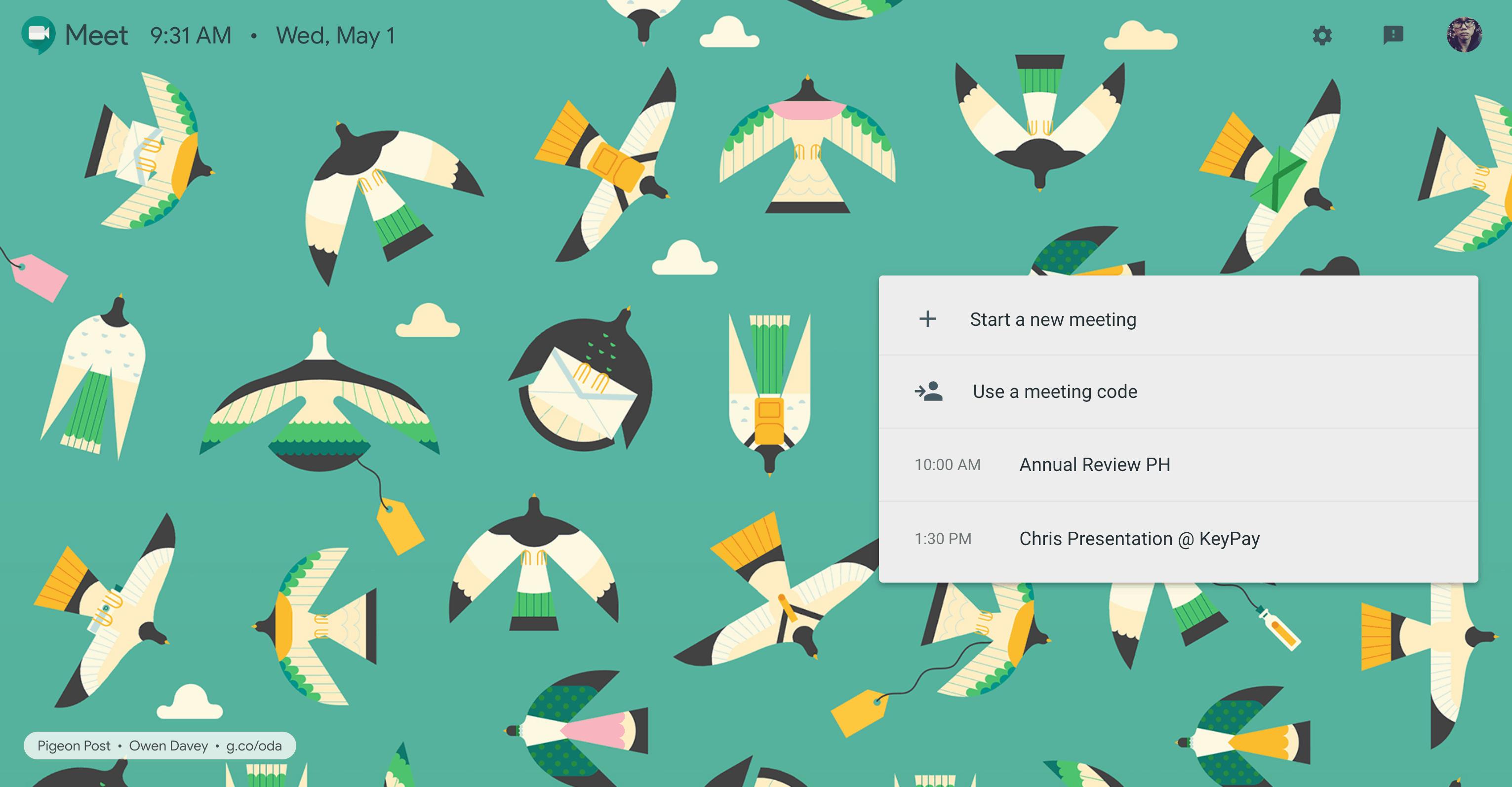 Join meeting screen by Google Meet
