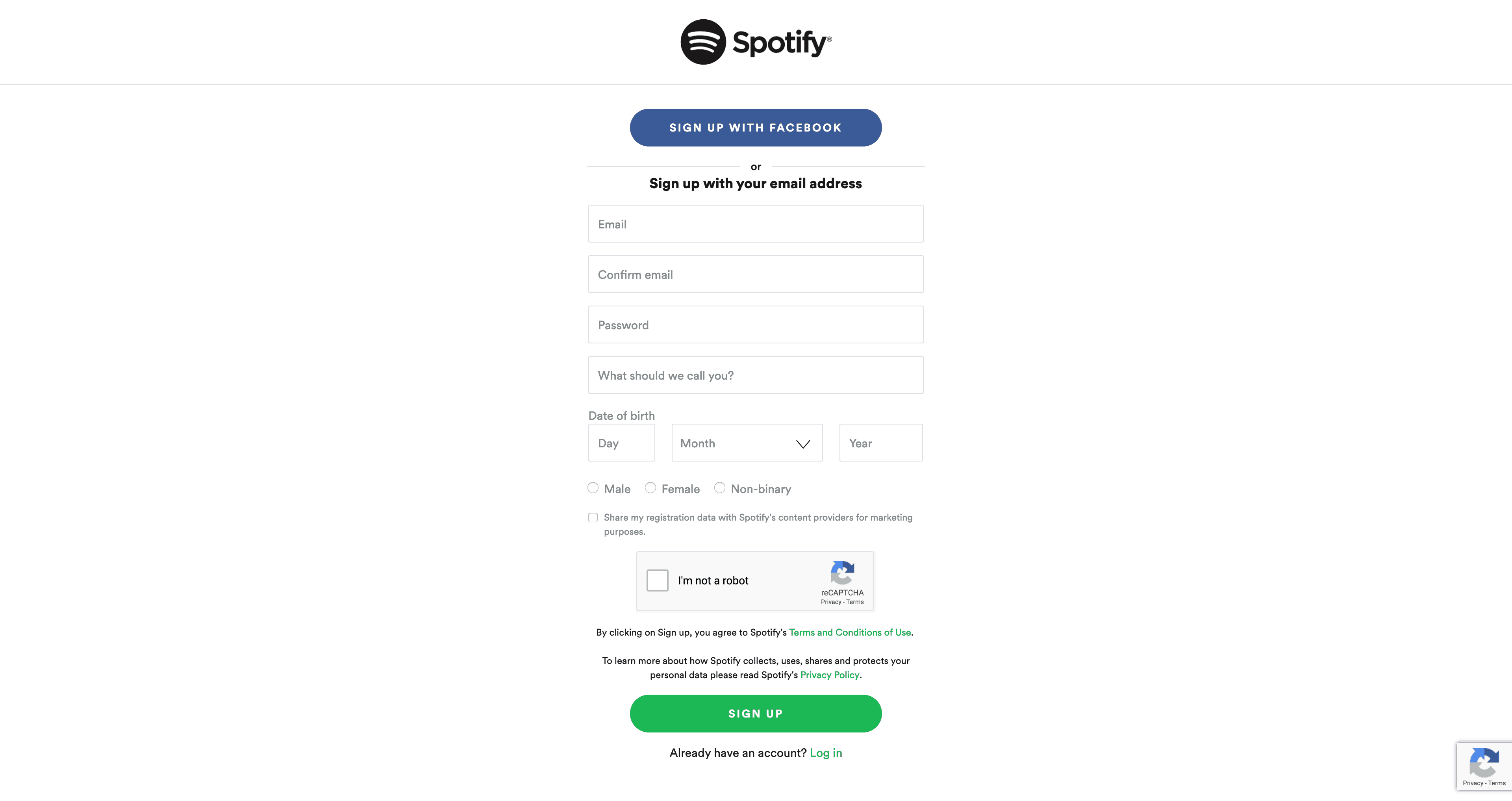 Sign Up  by Spotify
