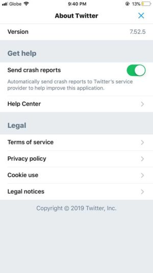About Twitter on iOS by Twitter 2019 from UIGarage