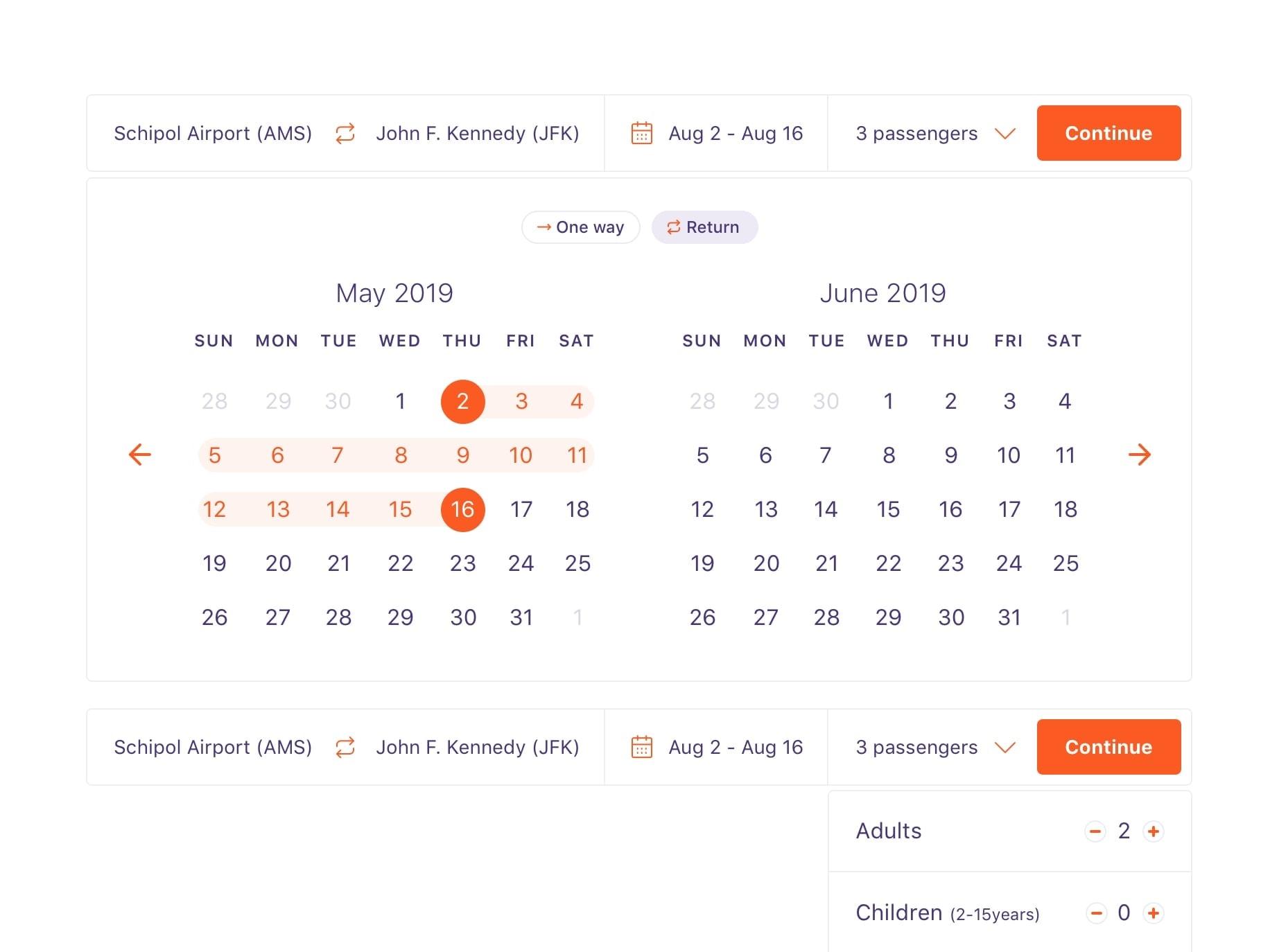 Airline Datepicker on Desktop from UIGarage