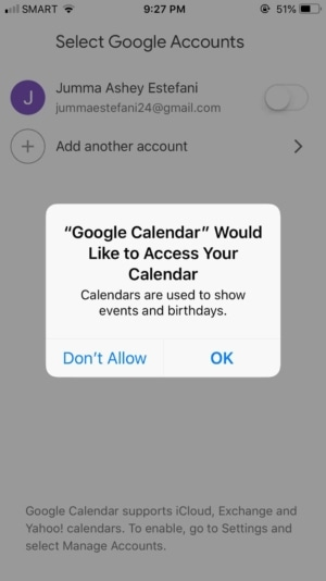 Ask Permission on iOS by Google Calendar from UIGarage