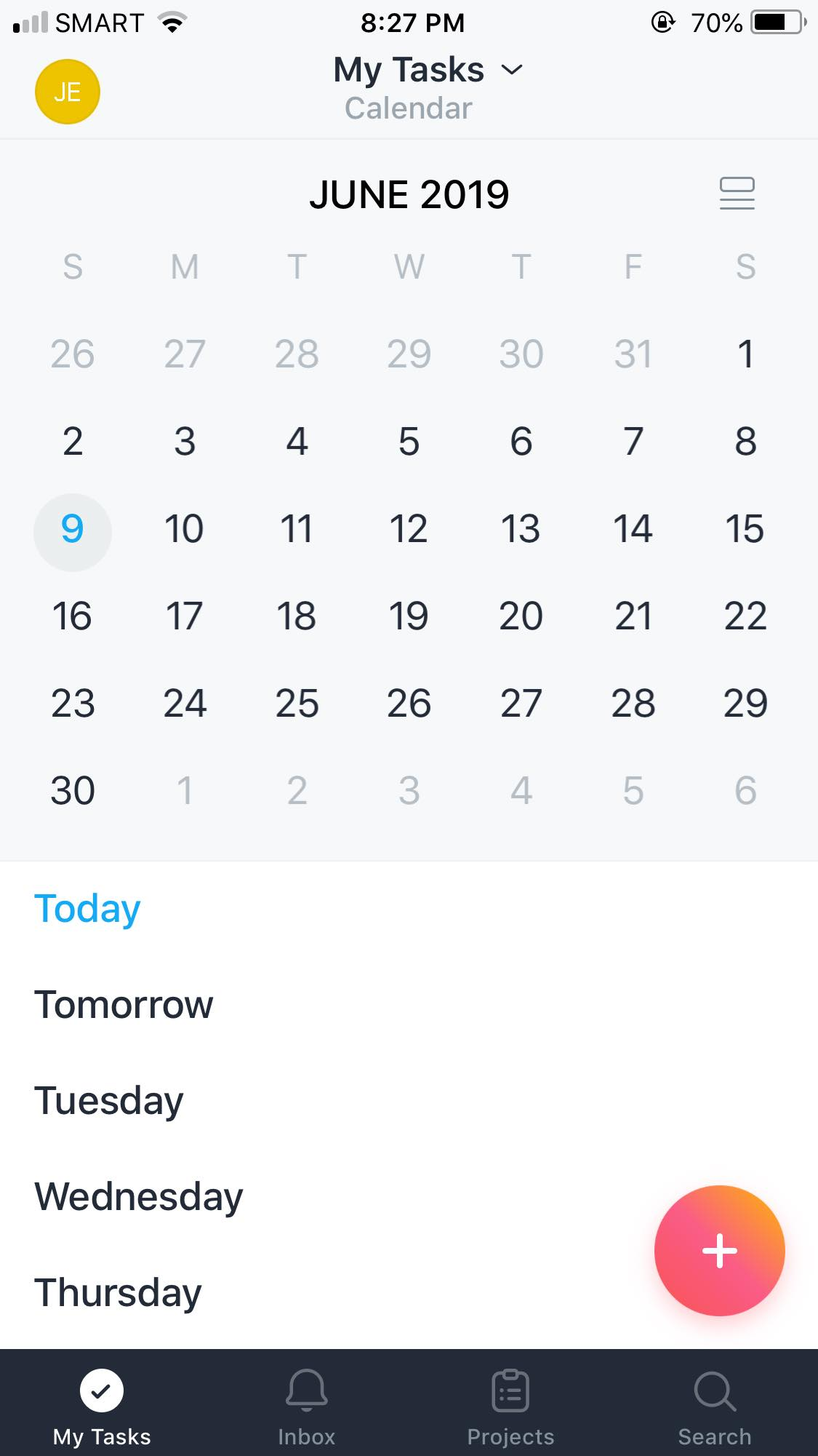 Calendar on iOS by Asana from UIGarage