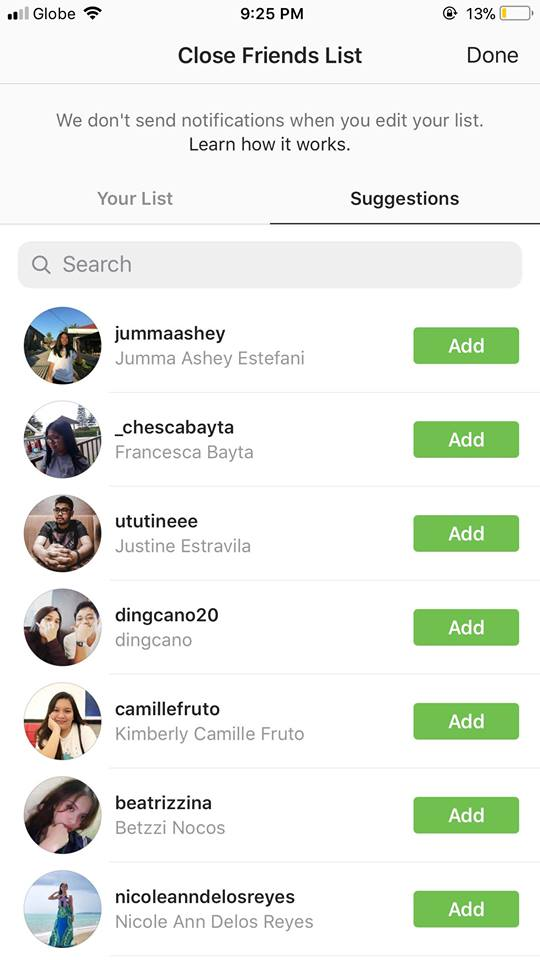 Close Friends List on iOS by Instagram 2019 from UIGarage