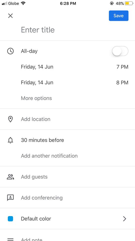 Create on iOS by Google Calendar