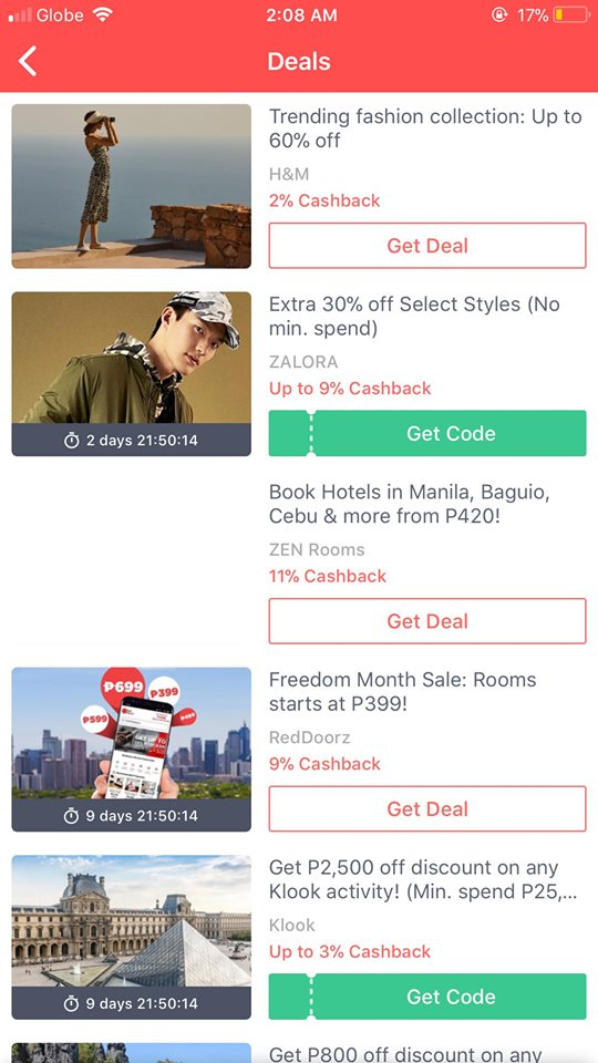 Deals on iOS by Shopback