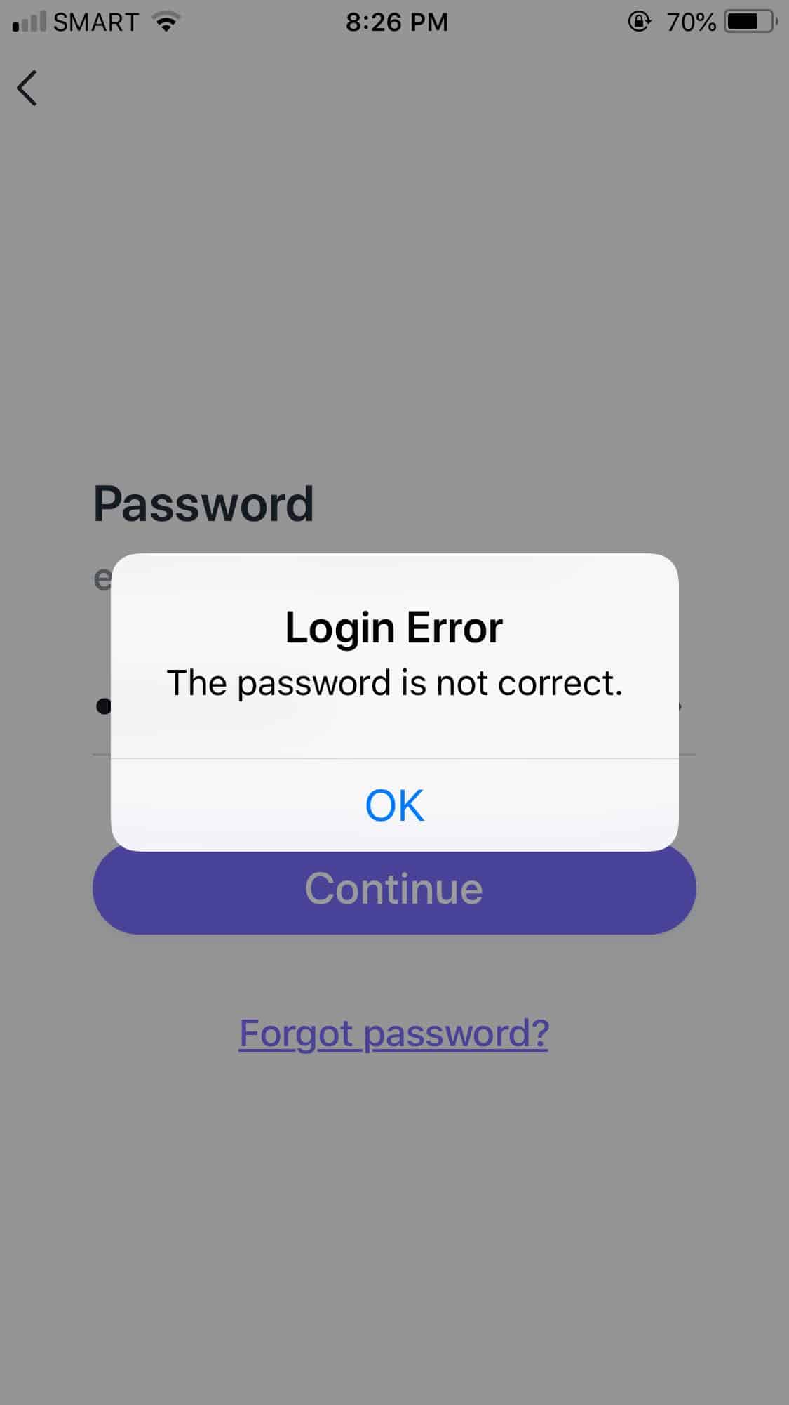 Login Error on iOS by Asana