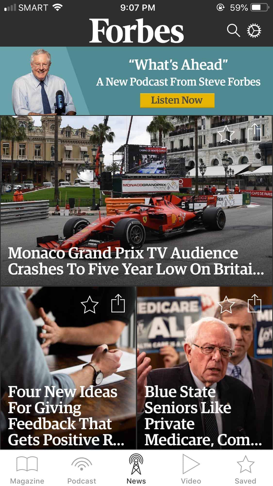 Homepage on iOS by Forbes from UIGarage