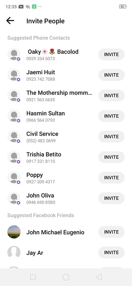 Invite People on Android by Messenger