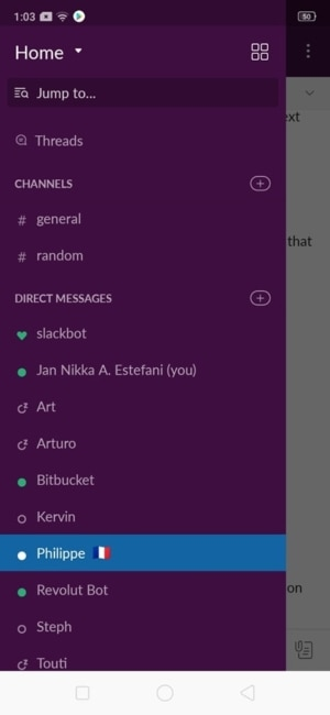 Menu on Android by Slack from UIGarage