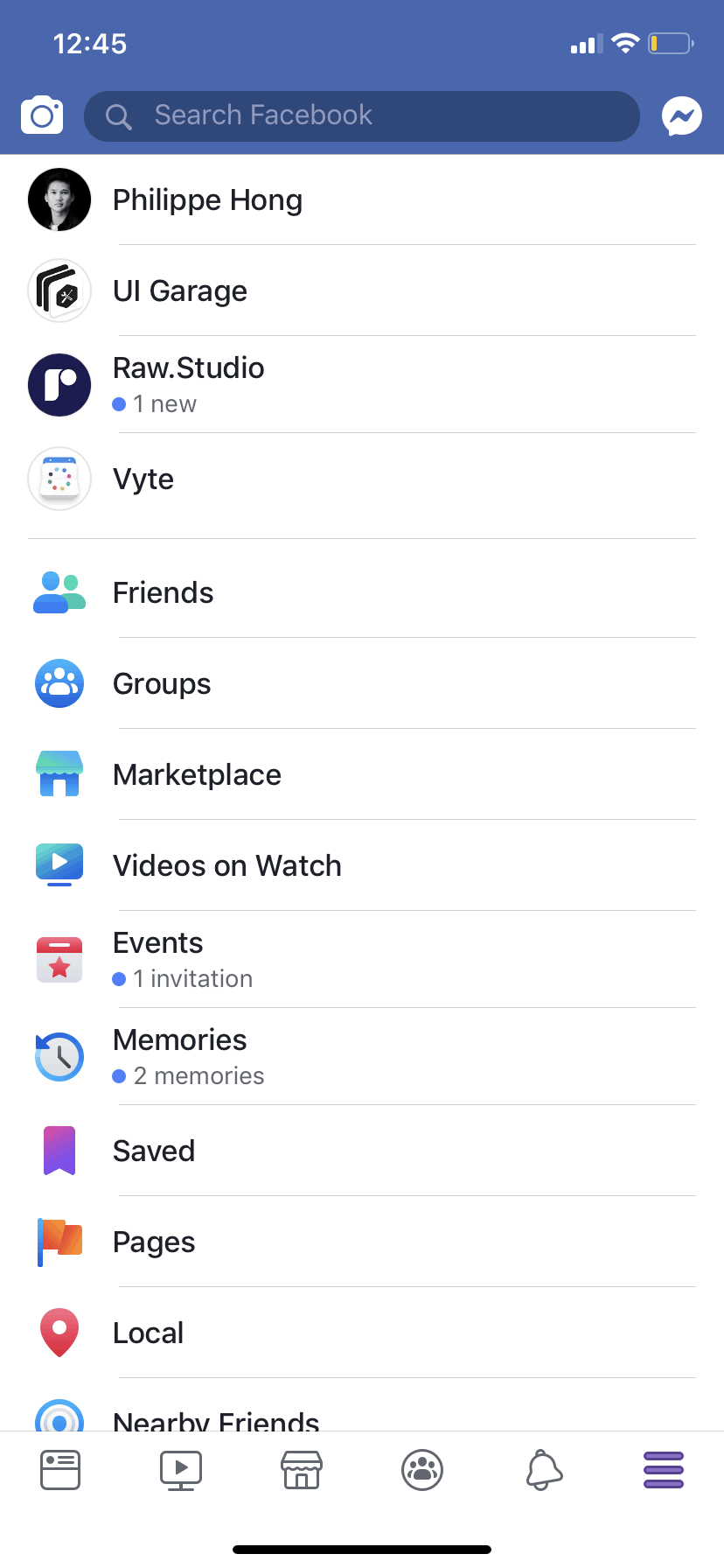 Menu Page on iOS by Facebook