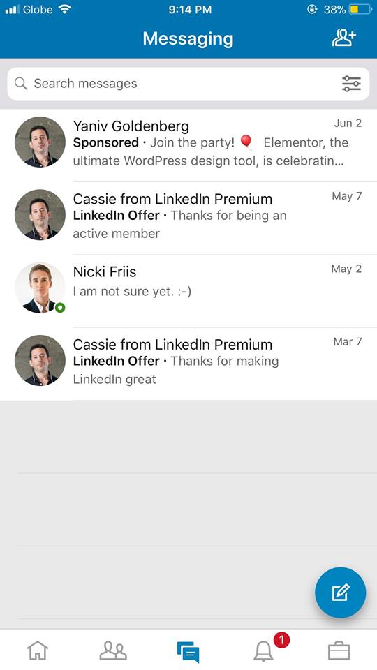 Messages on iOS by LinkedIn from UIGarage