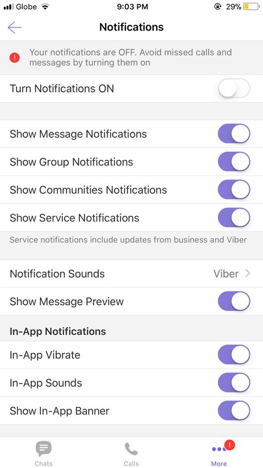 Notifications on iOS by Viber