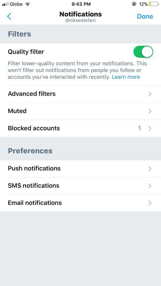 Notifications Settings on iOS by Twitter 2019 from UIGarage