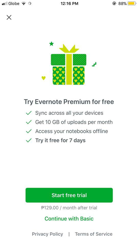 Pricing on iOS by Evernote