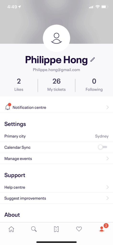 Profile Page on iOS by EventBrite from UIGarage