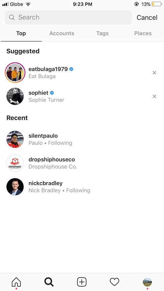 Search on iOS by Instagram 2019