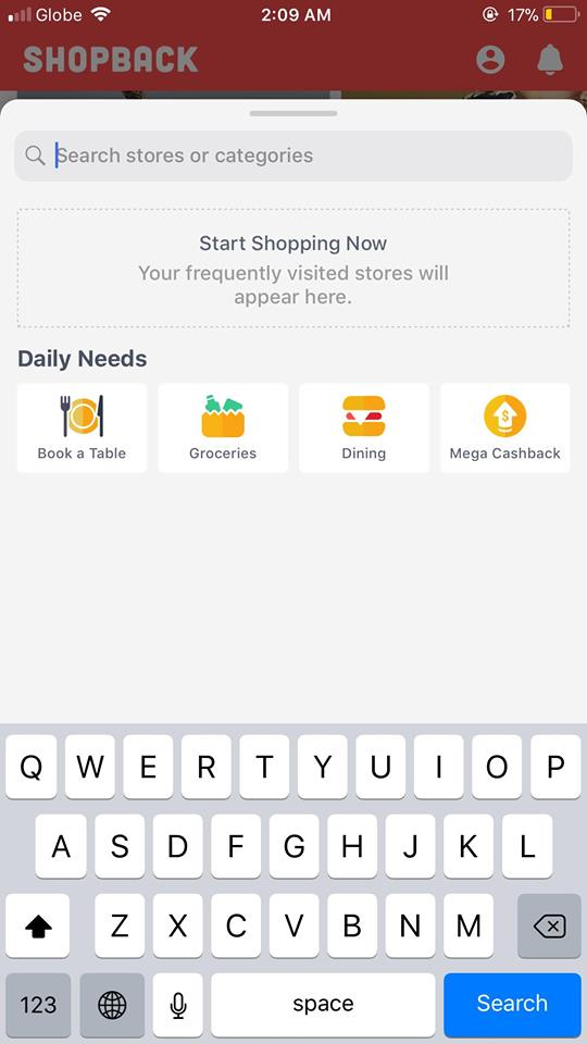 Search on iOS by Shopback