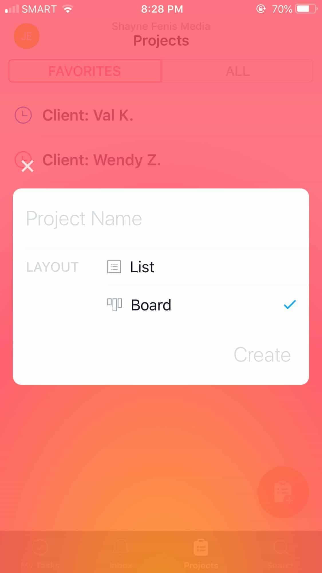 Create Project on iOS by Asana