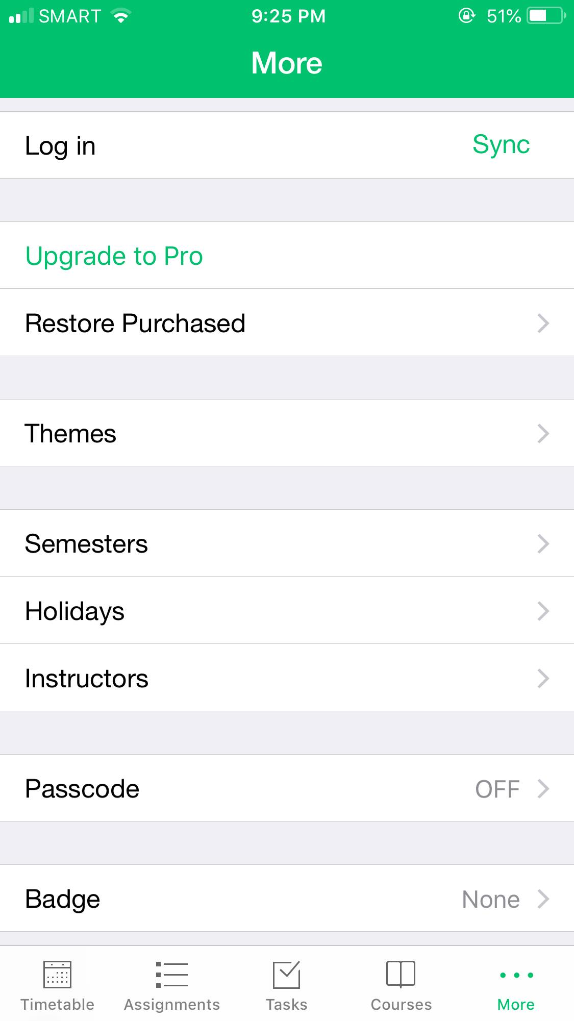Settings on iOS by Pocket Schedule from UIGarage