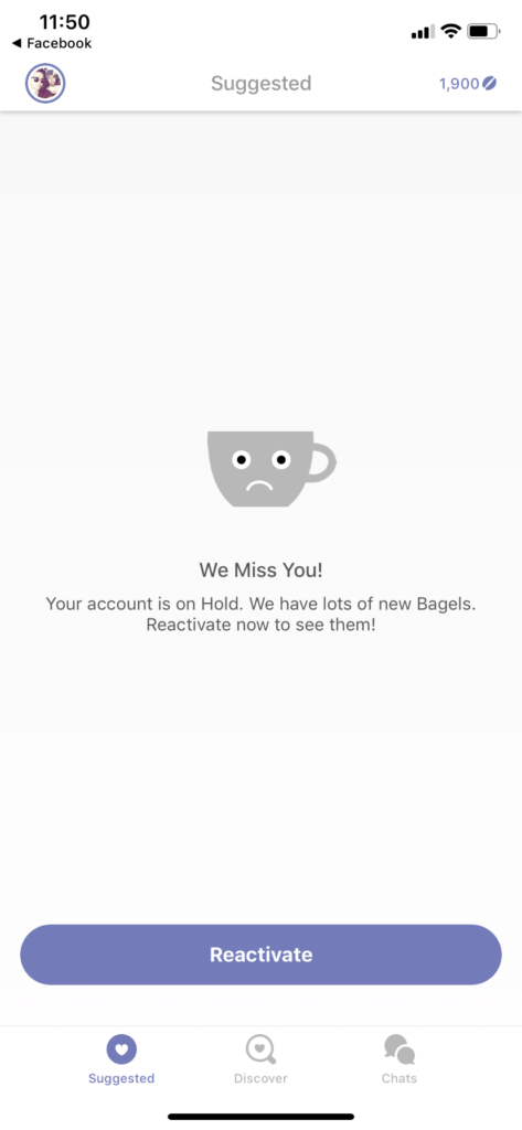 Suggested Page on iOS by Coffee Meets Bagel from UIGarage
