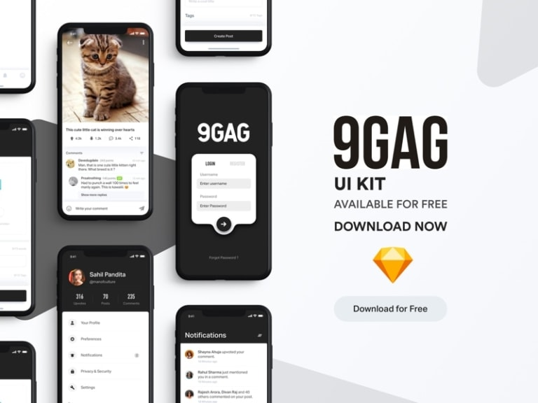 9GAG Redesign UI Kit from UIGarage
