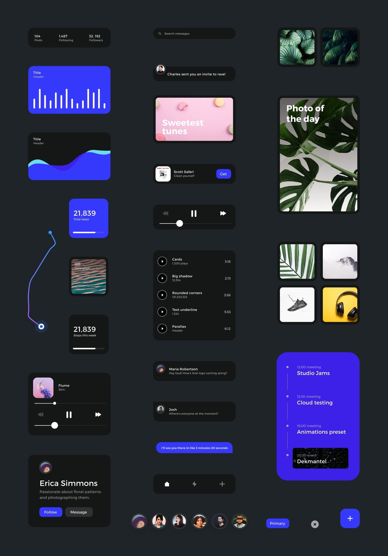 Card - Free UI Kit For InVision Studio from UIGarage