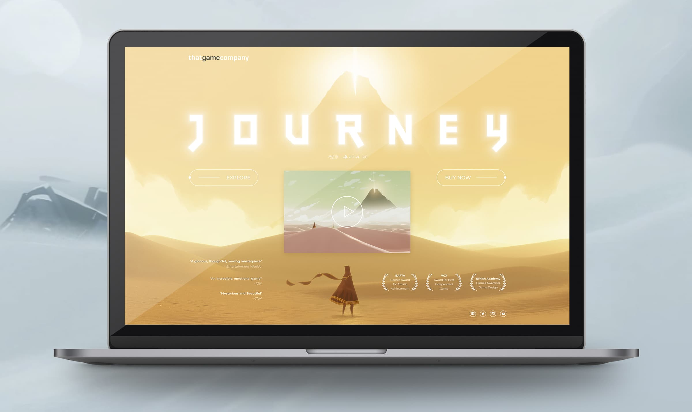 Journey game website landing page