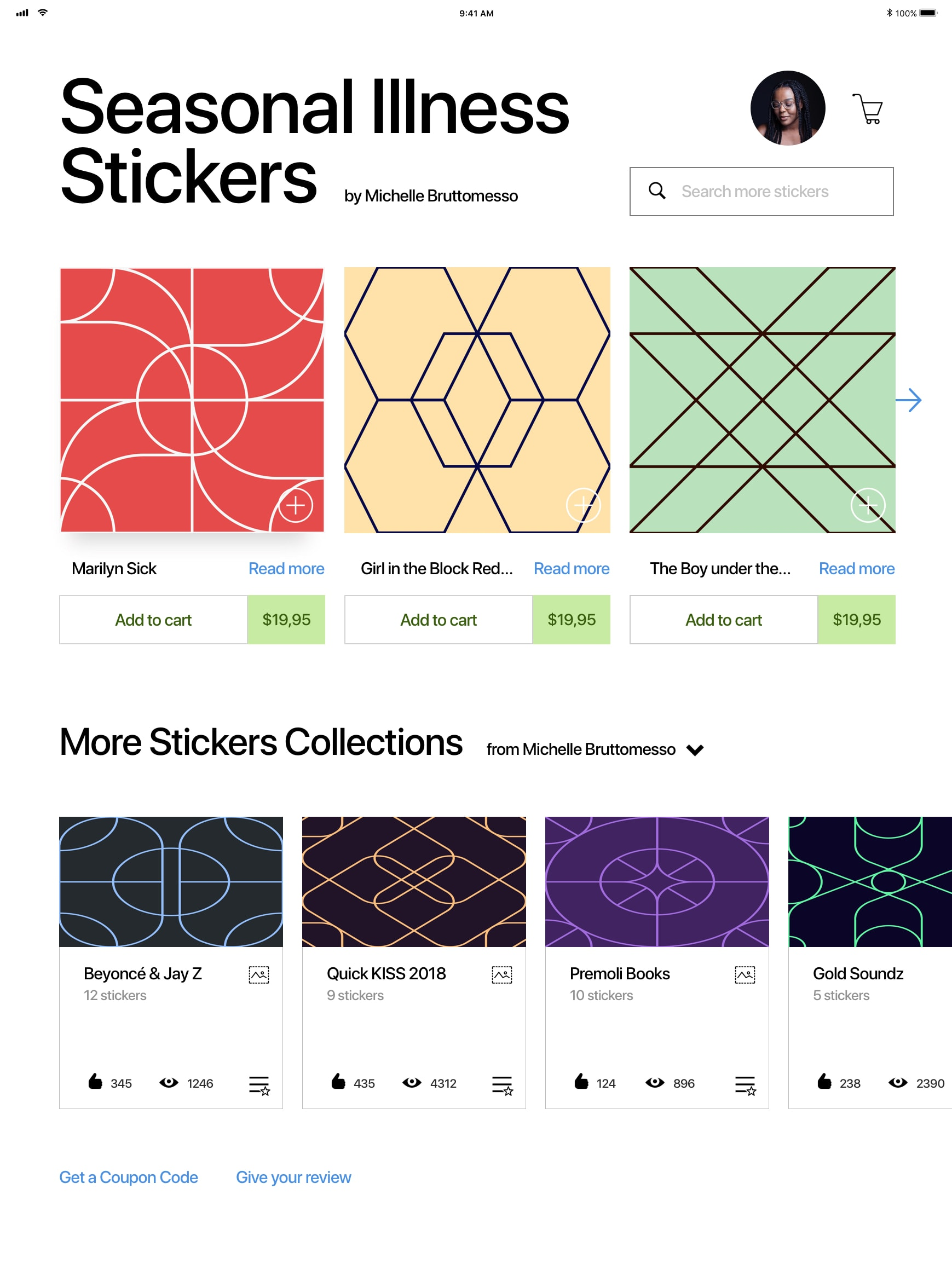 Stickers Shop App UI Kit from UIGarage