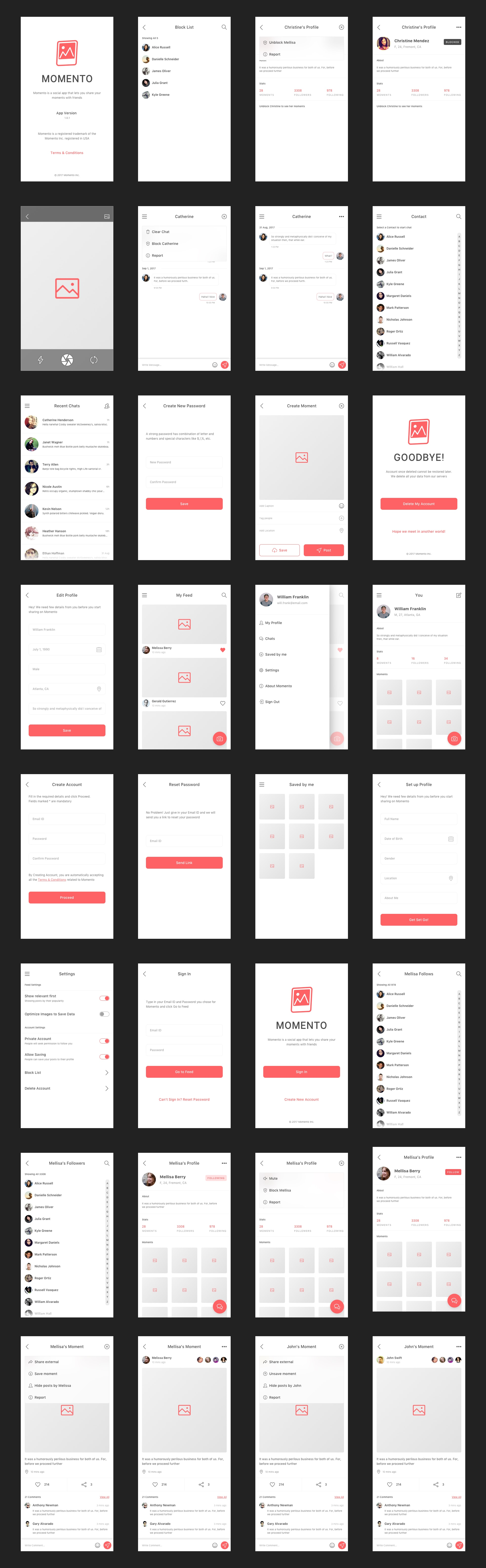 Momento - Free Sketch UI Kit from UIGarage