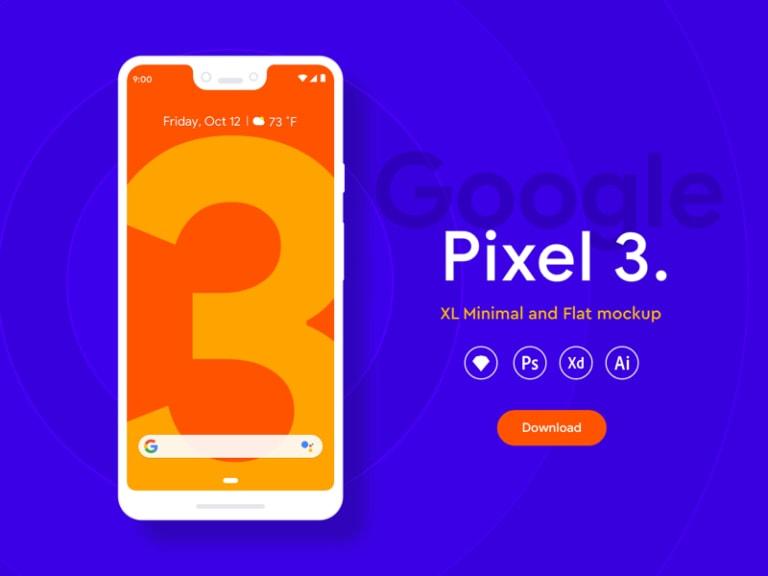 Google Pixel 3 XL Flat Mockups from UIGarage