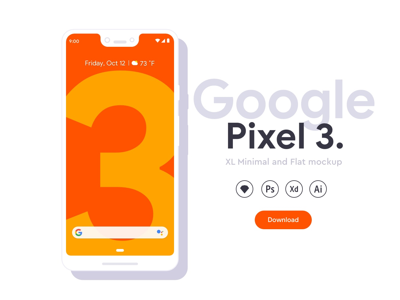 Google Pixel 3 XL Flat Mockups from UIGarage