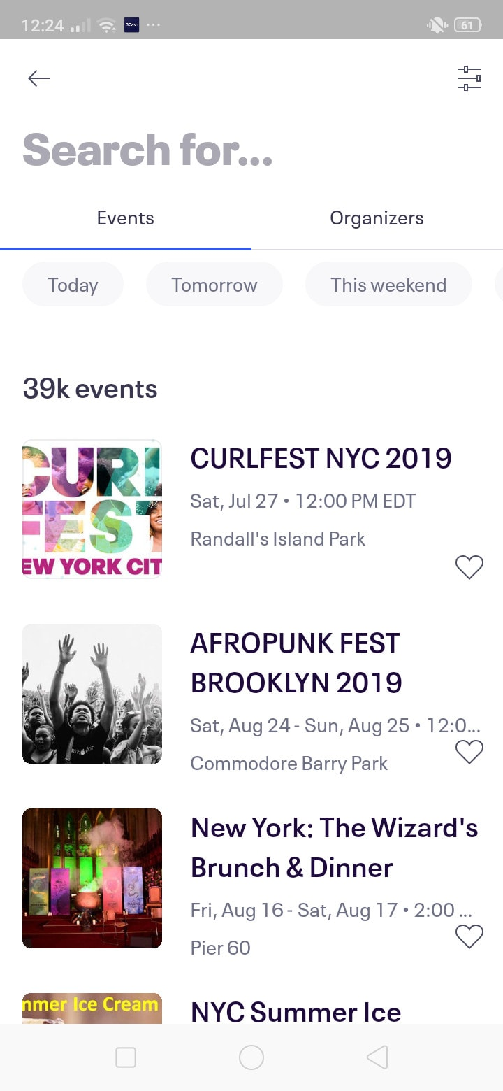 Search for Events on Android by EventBrite from UIGarage