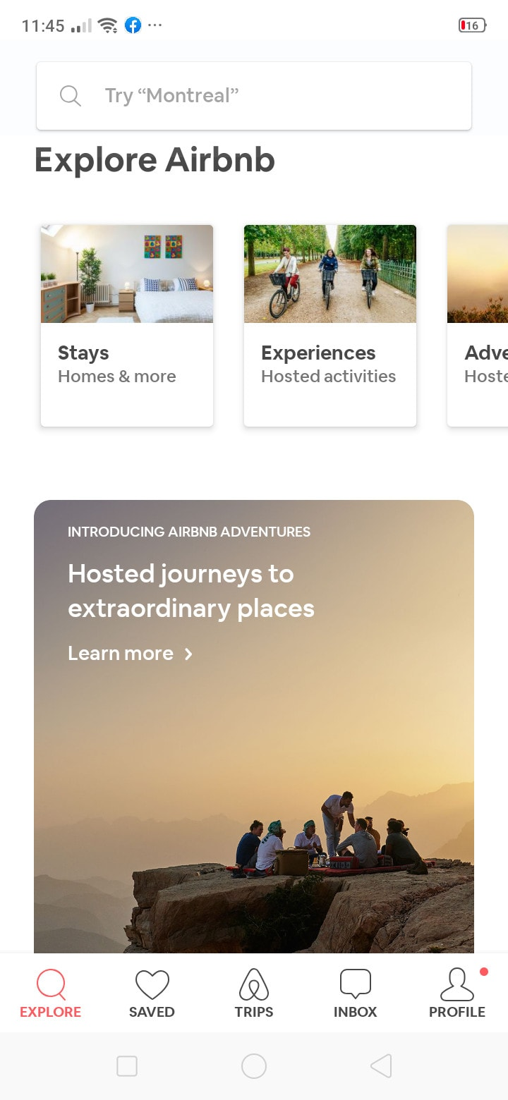 Explore on Android by Airbnb