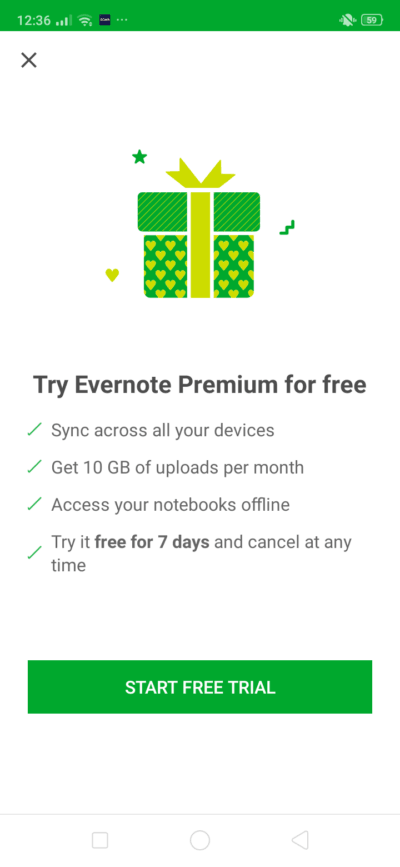 Start Free Trial on Android by Evernote from UIGarage