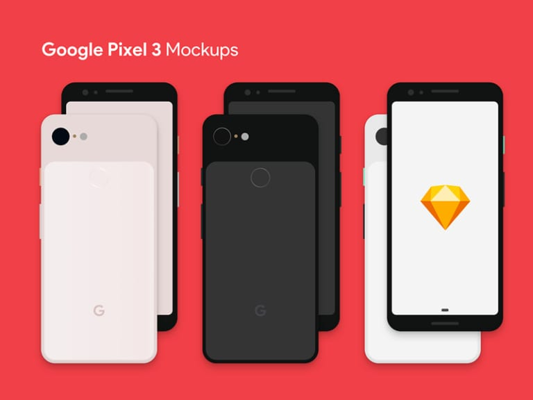 Google Pixel 3 Free Sketch Mockup from UIGarage
