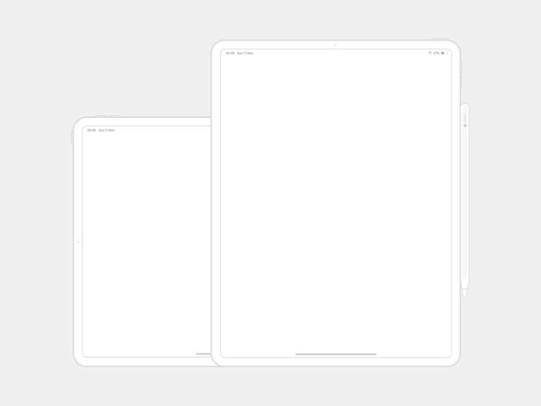 iPad Pro 12.9 Wireframe Mockup from UIGarage