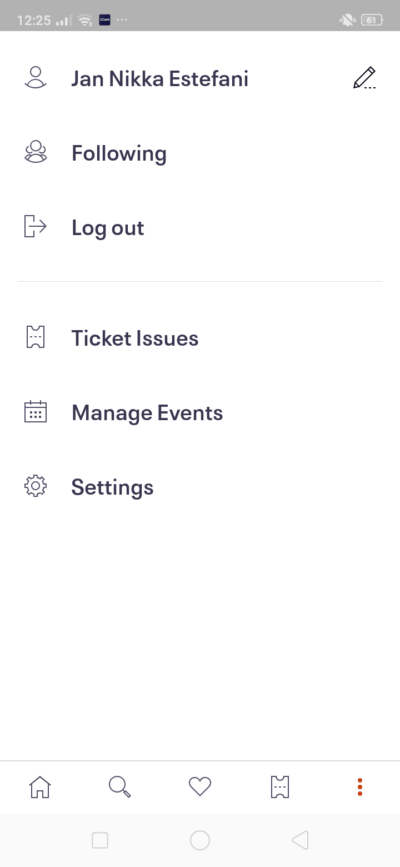 Menu on Android by EventBrite from UIGarage