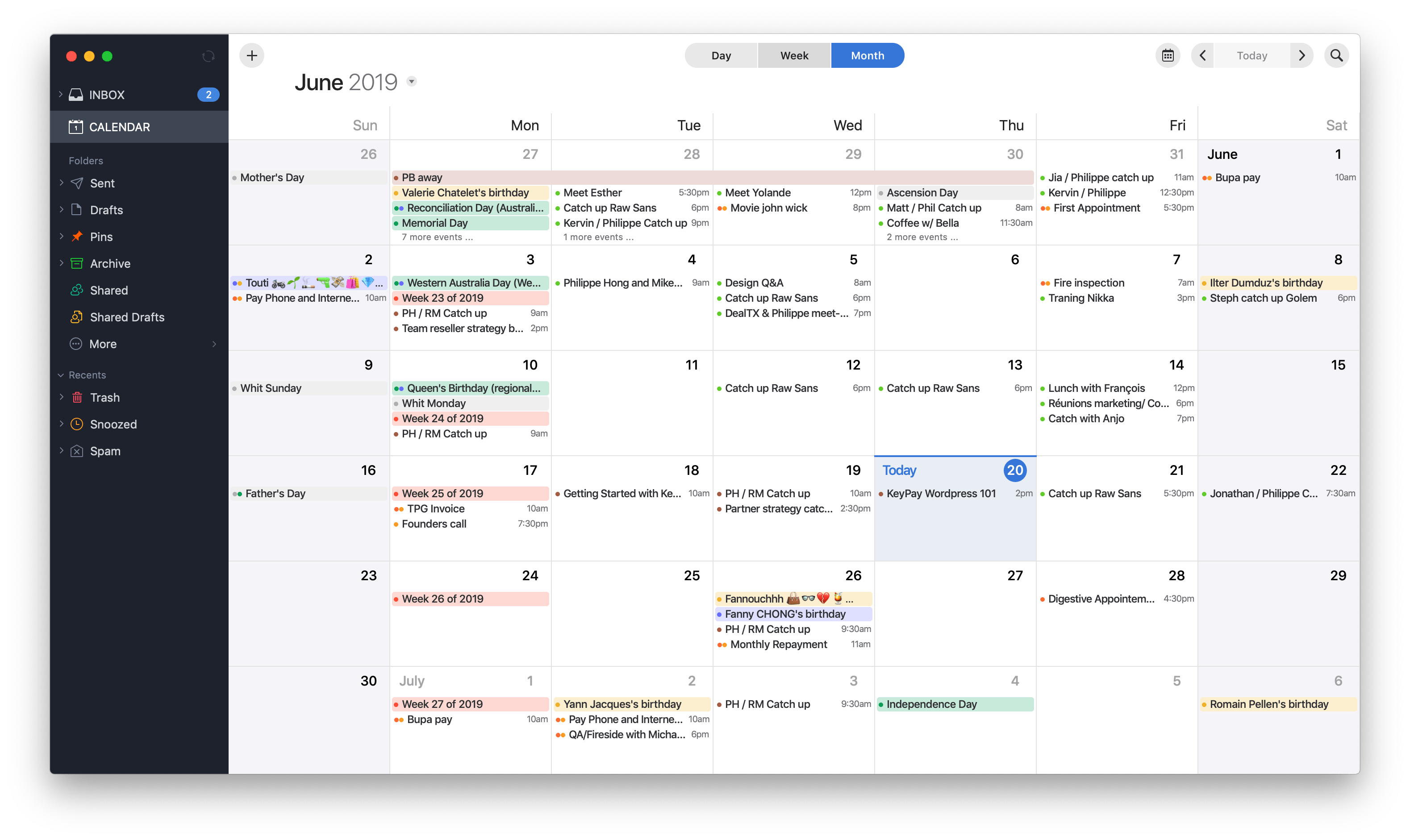 Monthly Calendar view by Spark on macOS