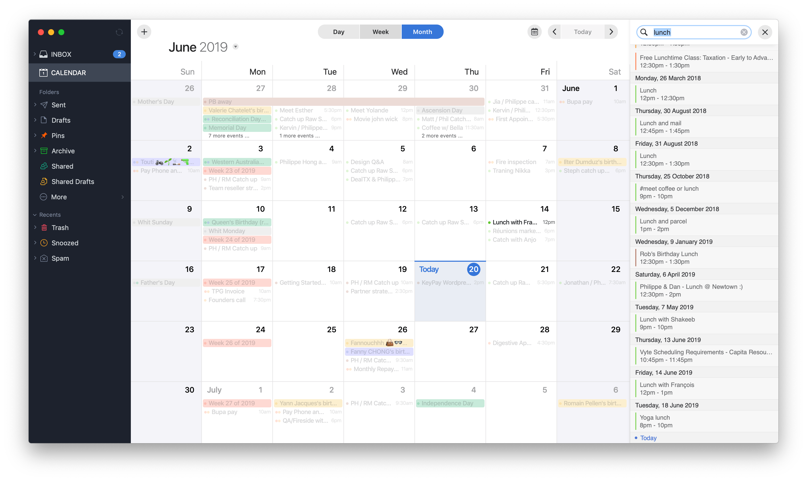 Search on calendar by Spark on macOS