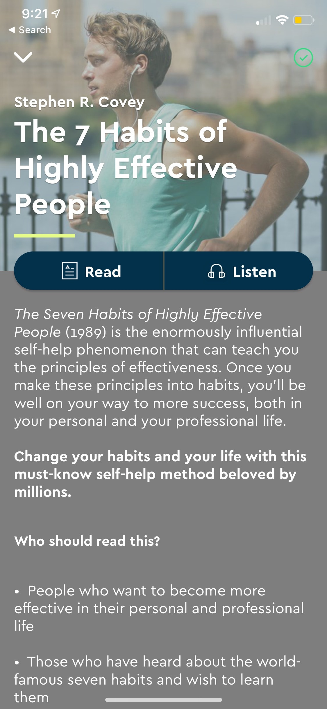 Content screen by Blinkist on iOS from UIGarage